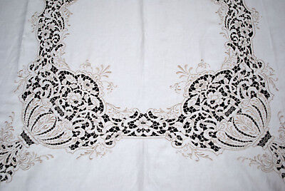 "Antiquue Vintage Madeira Tablecloth Richelieu Cutwork  140""x 68"" with 10 Napkins"