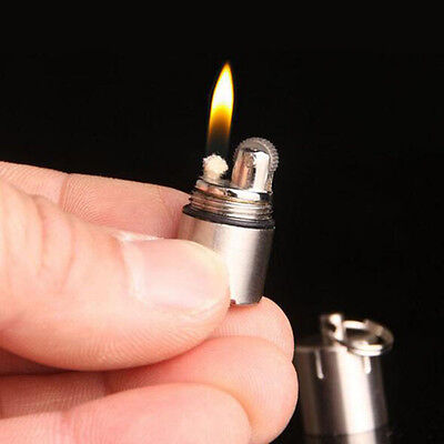 Cylinder Meta Keychain Mini Fire Flint Wick Kerosene Pipe Cigarette Lighter With