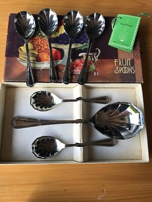 1950s Sheffield Fruit Spoons Stainless Chromium Plated