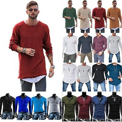 Men's Slim Fit Long Sleeve T-Shirt Tops Sweatshirt Knitted Casual Sweater Shirts