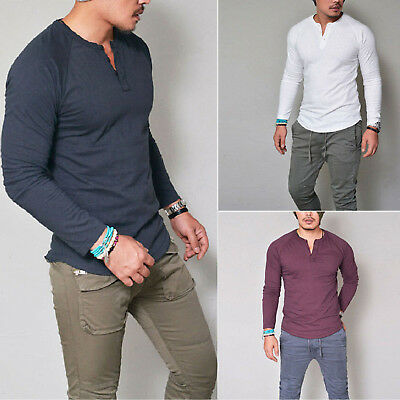 Stylish Mens Slim Fit T-shirt Tops V Neck Long Sleeve Muscle Casual Henley Shirt