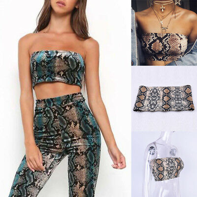 ca01a33348c Women s Vest Bra Crop Top Snake Printed Boob Tube Strapless Bandeau Stretch  2018