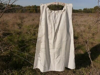 Antique French Linen Chemise Hand Embroidered Monogram .e.d.