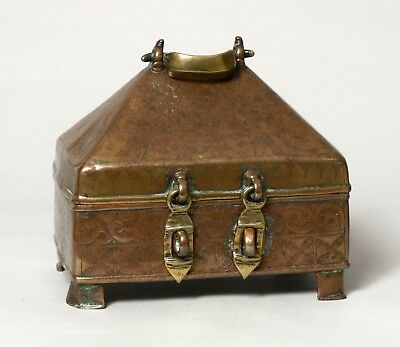 A Very Rare Antique 17Thc Early Indian Cast Bronze Deccani Casket Box, 'islamic'