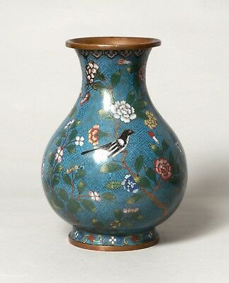 Fine Quality Antique Chinese Cloisonne On Bronze Vase