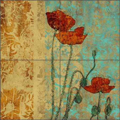 Ceramic Tile Mural Backsplash Libby Poppy Flowers Floral Art SLA048