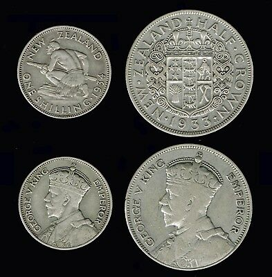 NEWZEALAND:- King George V, 2 different Silver pre decimal coins c1930's AP6339