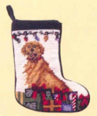 NP Quality GOLDEN RETRIEVER Mini Needlepoint Christmas Stocking RETIRED