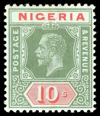 Nigeria 1917 KGV 10s green & red/blue-green on pale olive back MLH. SG 11b.