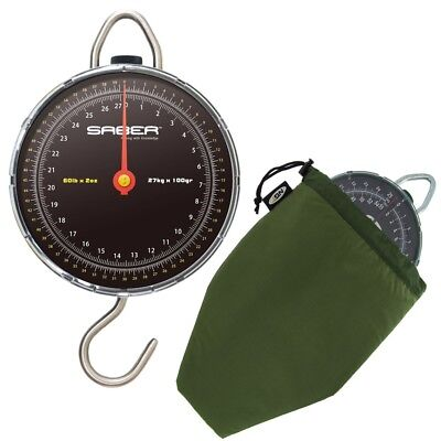 Saber Specimen Fishing Scales 60Lb Carp Fishing Dial Scales + Deluxe Scales Case