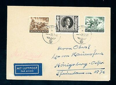 Jersey  1943  Feldpost Cover  Code II  to Germany   (D787)