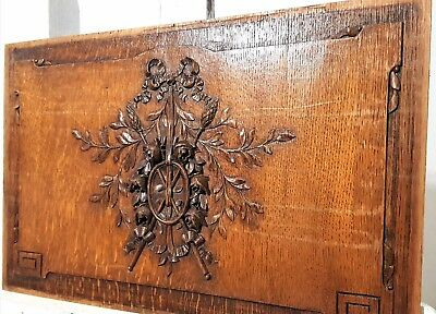 Hand Carved Wood Panel Antique French Oak Bow Roses Flower Architectural Salvage