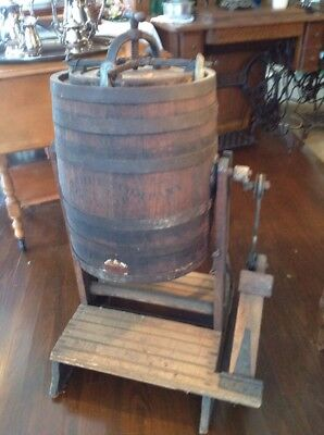 Vintage Antique Wood Barrel Pedal The Standard Churn Company Wapakoneta Ohio