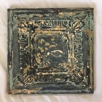 "11"" x 11 Antique Tin Ceiling Tile Wrapped Frame Anniversary Verdigris 705-17"