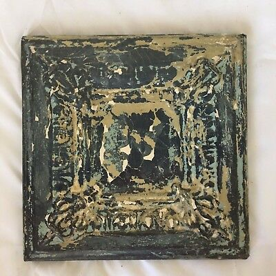 "11"" x 11 Antique Tin Ceiling Tile Wrapped Frame Anniversary Verdigris 706-17"