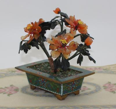 Antique Chinese Brass & Enamel Cloisonne Planter Flowering Bosnai Tree