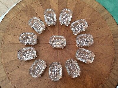 Antique French Crystal Glass Footed Open Salts Set of 12, gl74