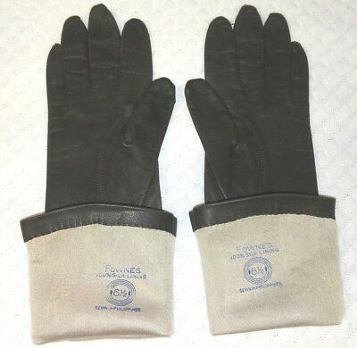 Womens Vintage Kid Leather FOWNES Long Leather Gloves SILK lining 6.5