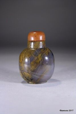 Vintage Chinese Snuff Bottle Tiger's Eye