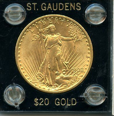 1908 .9675oz 90% Gold $20 St. Gaudens Double Eagle Gold Coin RN251