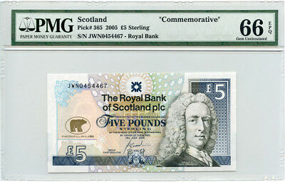Scotland 2005 Issue 5 Pounds Sterling,pmg-Gem-Unc-66-Epq.