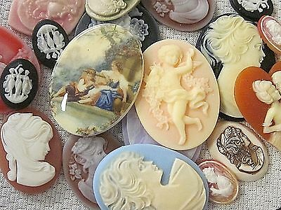* Sale* Cameos Nos Vtg Lot Limoge Resin Angels Crafts 19 Jewelry Findings Repair