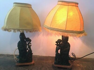 Pair of Vintage Chinese Malachite Lamps w/ Fringed Shades