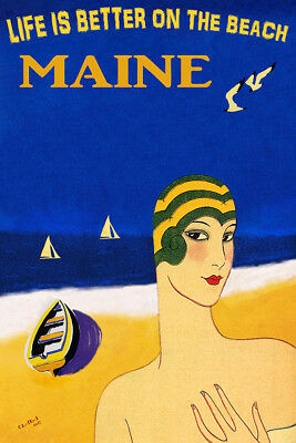 SUMMER GIRL HAT UMBRELLA DRINK BEACH SAILBOAT DANCE MAINE VINTAGE POSTER REPRO