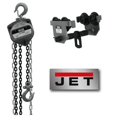 """JET """"S90-Series"""" 1/2-Ton Chain Hoist with 20' Lift & 1/2-Ton """"HDT"""" Trolley!"""