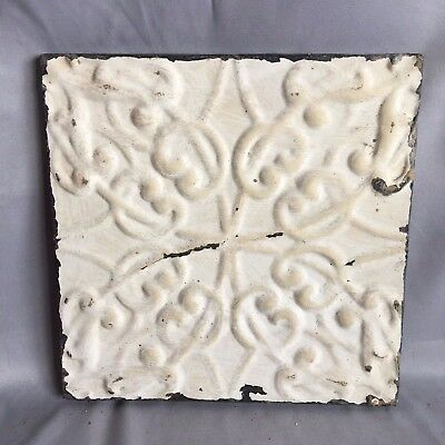 "11"" x 11 Antique Tin Ceiling Tile Wrapped Frame Anniversary White Cream 710-17"