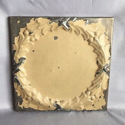 "11"" x 11 Antique Tin Ceiling Tile Wrapped Frame Anniversary Sand 714-17"