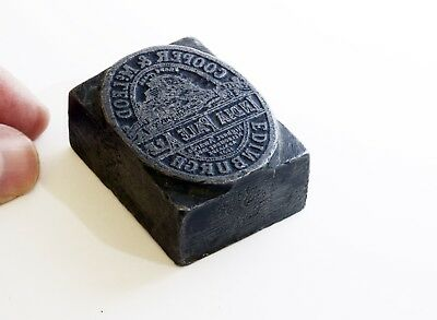 RARE Antique COOPER & McLEOD Ale Small & Weighty Metal Print Block - 1800's.