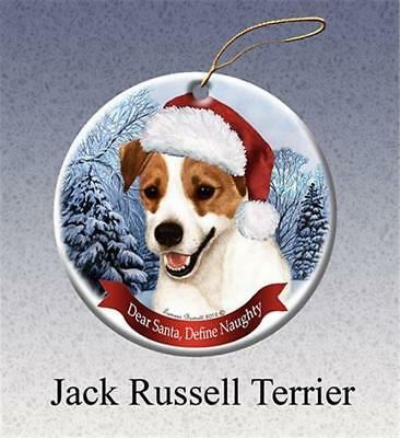 Jack Russell Dog Santa Hat Porcelain Christmas Ornament Gift