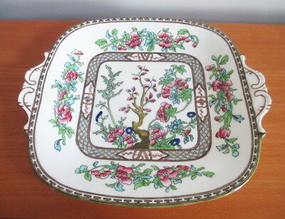Coalport Indian Tree Cake Snack Plate Square Handles Multi Color Gold 9 1/4""