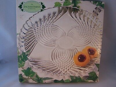 """Vintage Indiana Glass Enchantment Round Platter 12"""" MIB USA Clear"""