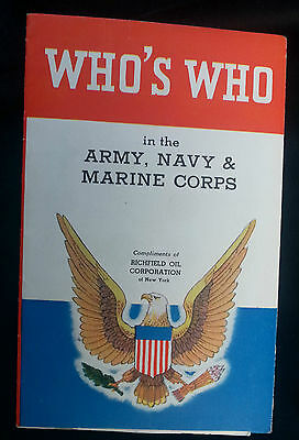 Vintage Richfield OIL Corp Booklet Who's Who Army Navy Marine Corps