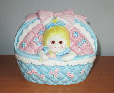 Relpo 2342 Planter Girl Baby Blue Pink Bassinet Rattle Bow Flowers Japan