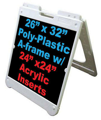 "24""x 24"" Signicade Plastic Sidewalk Black Acrylic Inserts Message Sign White"
