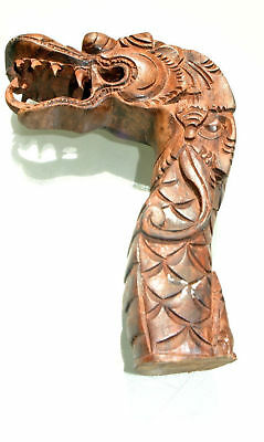 """small DRAGON scales WALKING STICK end ONLY wood crutch handle 4"""" hand made"""