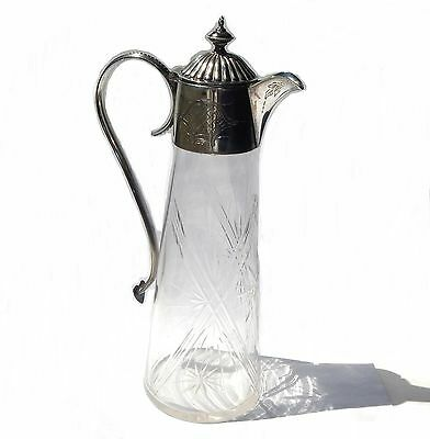 Antique Edwardian c1910 Cut Crystal Silver Plate Claret Jug Decanter