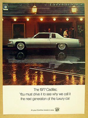 1977 Cadillac Coupe DeVille silver gray car photo vintage print Ad