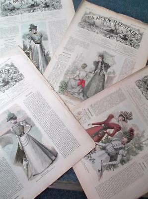 Lot of 4 French sewing clothes vintage Victorian 1800s mode illustree magazines