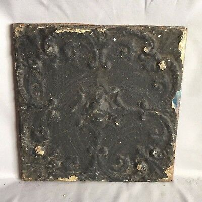 "11"" x 11 Antique Tin Ceiling Tile Wrapped Frame Anniversary Black 717-17"