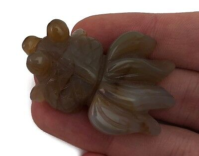 Goldfish Fish Agate Hand Carved Gemstone Animal Tiny Totem Statue Stone