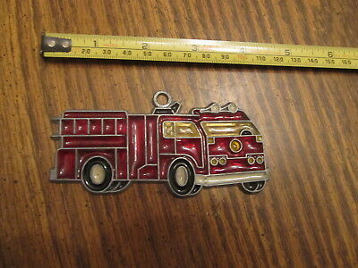 4 inch firetruck Suncatcher Sun Catcher Stained Glass-style window hanging