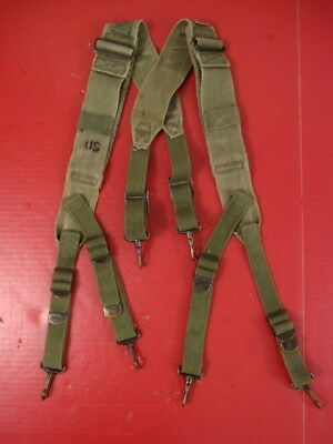 WWII Era US Army M1944 Field Pack Suspenders Complete - OD Green - Nice Cond