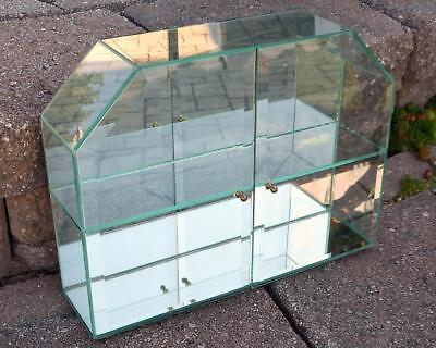 Table Top Mirrored Beveled Glass Display Cabinet Miniatures Case 90s Herman Hiss