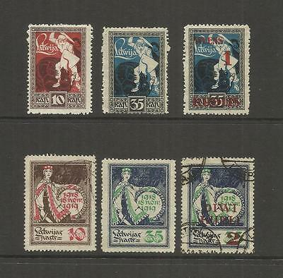 Latvia ~ 1919-1920 Anniversary & Surcharges (Part Set)