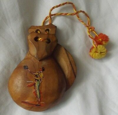 Vintage Wood Castanets Spanish Matador Yarn Cord Musical Percussion Instrument