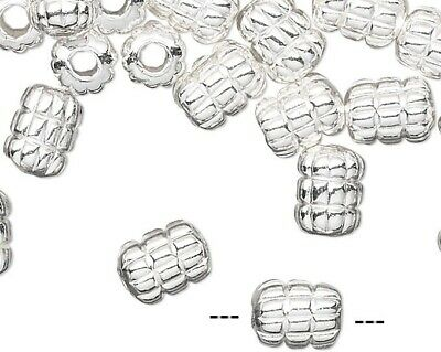 240 Silver Plated Brass Corrugated Ribbed Tube Beads ~ 5x4mm